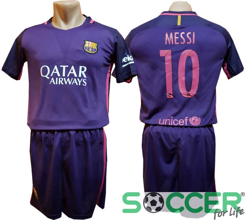 Футбольная форма детская Барселона (Barcelona) 2017 фиолетовая Messi №10 5cbcb087085