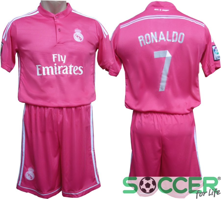 Футбольная форма детская Реал (Real) Ronaldo№7 2015 РАСПРОДАЖА цвет  розовая 550f403ed69